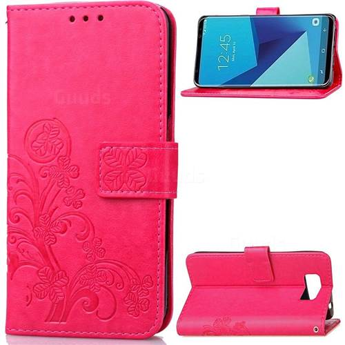 Embossing Imprint Four-Leaf Clover Leather Wallet Case for Samsung Galaxy S8+ S8 Plus - Rose