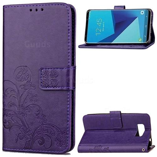 Embossing Imprint Four-Leaf Clover Leather Wallet Case for Samsung Galaxy S8+ S8 Plus - Purple