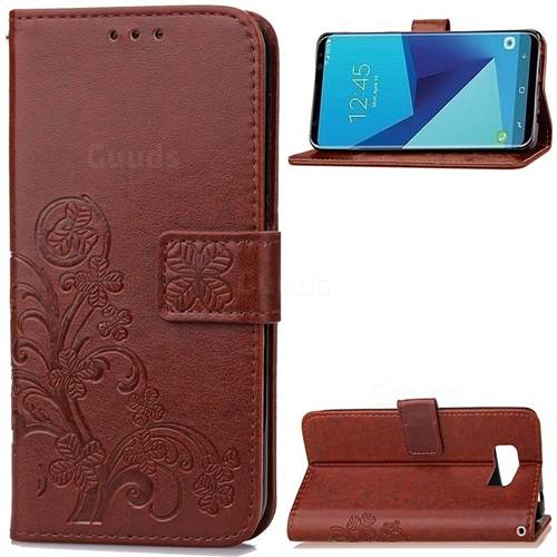 Embossing Imprint Four-Leaf Clover Leather Wallet Case for Samsung Galaxy S8+ S8 Plus - Brown