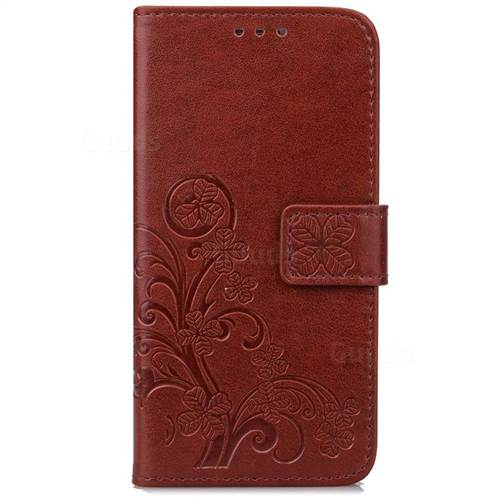 sale retailer 26fd6 fcec0 Embossing Imprint Four-Leaf Clover Leather Wallet Case for Samsung Galaxy  S8+ S8 Plus - Brown