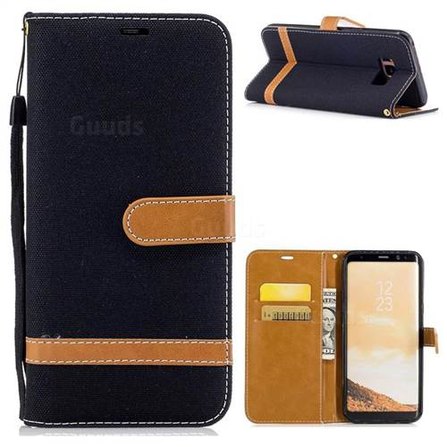 Jeans Cowboy Denim Leather Wallet Case for Samsung Galaxy S8 Plus S8+ - Black