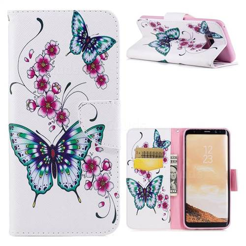 Peach Butterfly Leather Wallet Case for Samsung Galaxy S8 Plus S8+
