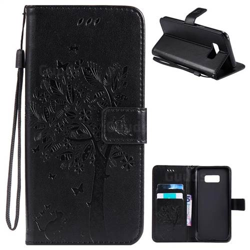 Embossing Butterfly Tree Leather Wallet Case for Samsung Galaxy S8 Plus S8+ - Black