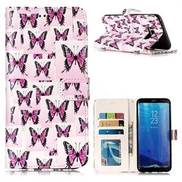 Butterflies Stickers 3D Relief Oil PU Leather Wallet Case for Samsung Galaxy S8 Plus S8+