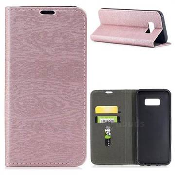 Tree Bark Pattern Automatic suction Leather Wallet Case for Samsung Galaxy S8 Plus S8+ - Rose Gold