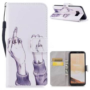 Middle Finger PU Leather Wallet Case for Samsung Galaxy S8 Plus S8+