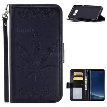 Intricate Embossing Maple Leather Wallet Case for Samsung Galaxy S8 Plus S8+ - Black