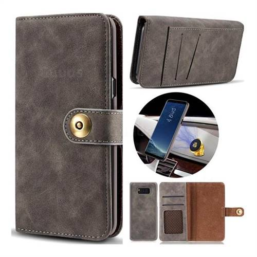 Luxury Vintage Split Separated Leather Wallet Case for Samsung Galaxy S8 Plus S8+ - Black