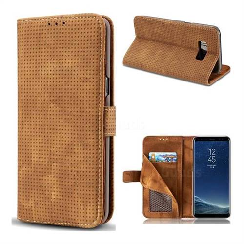 Luxury Vintage Mesh Monternet Leather Wallet Case for Samsung Galaxy S8 Plus S8+ - Brown
