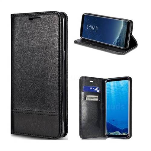 Magnetic Suck Stitching Slim Leather Wallet Case for Samsung Galaxy S8 Plus S8+ - Black