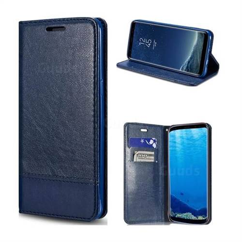 Magnetic Suck Stitching Slim Leather Wallet Case for Samsung Galaxy S8 Plus S8+ - Sapphire