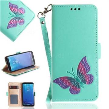 Imprint Embossing Butterfly Leather Wallet Case for Samsung Galaxy S8 Plus S8+ - Mint Green