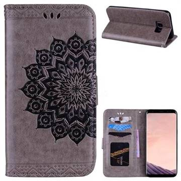 Datura Flowers Flash Powder Leather Wallet Holster Case for Samsung Galaxy S8 Plus S8+ - Gray