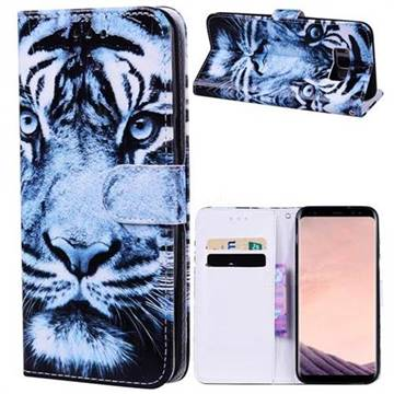 Snow Tiger 3D Relief Oil PU Leather Wallet Case for Samsung Galaxy S8 Plus S8+