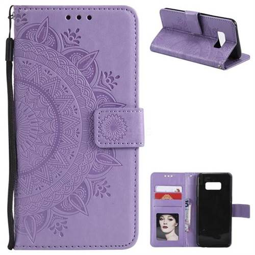 Intricate Embossing Datura Leather Wallet Case for Samsung Galaxy S8 Plus S8+ - Purple