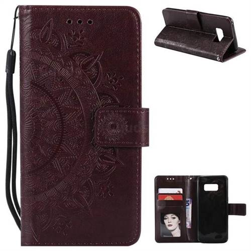 Intricate Embossing Datura Leather Wallet Case for Samsung Galaxy S8 Plus S8+ - Brown