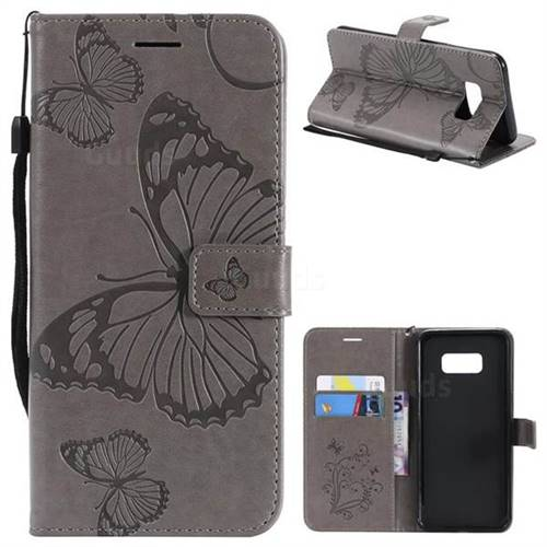 Embossing 3D Butterfly Leather Wallet Case for Samsung Galaxy S8 Plus S8+ - Gray