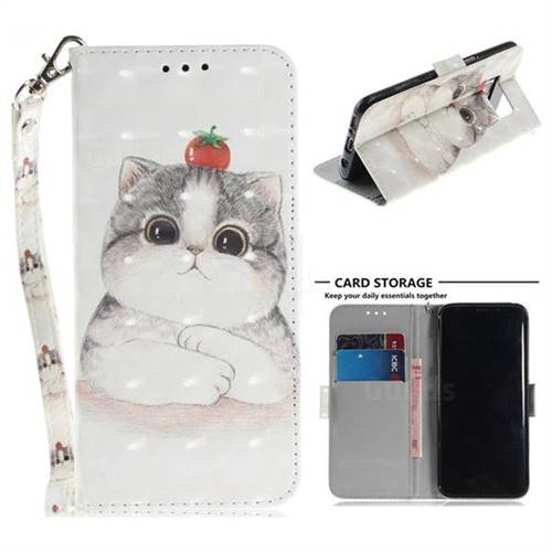 Cute Tomato Cat 3D Painted Leather Wallet Phone Case for Samsung Galaxy S8 Plus S8+