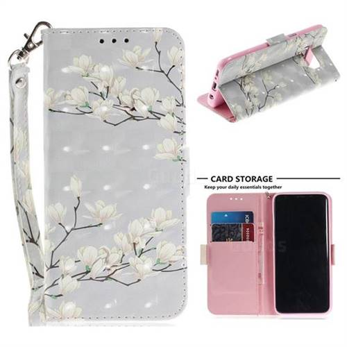 Magnolia Flower 3D Painted Leather Wallet Phone Case for Samsung Galaxy S8 Plus S8+