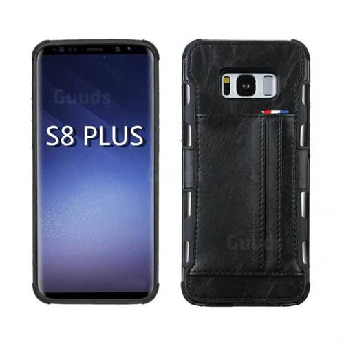 Luxury Shatter-resistant Leather Coated Card Phone Case for Samsung Galaxy S8 Plus S8+ - Black