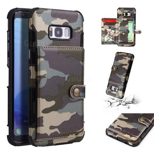 Camouflage Multi-function Leather Phone Case for Samsung Galaxy S8 Plus S8+ - Gray