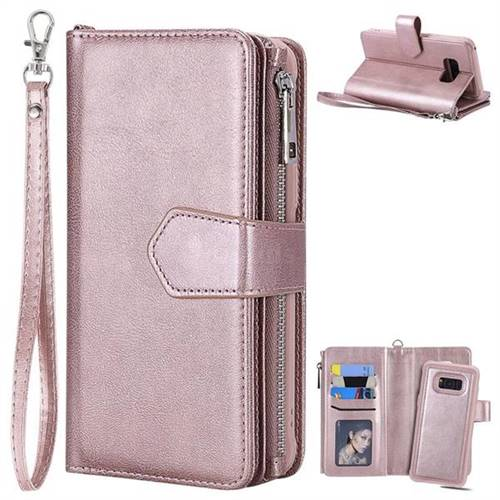 Retro Luxury Multifunction Zipper Leather Phone Wallet For Samsung Galaxy S8 Plus S8 Rose Gold Leather Case Guuds