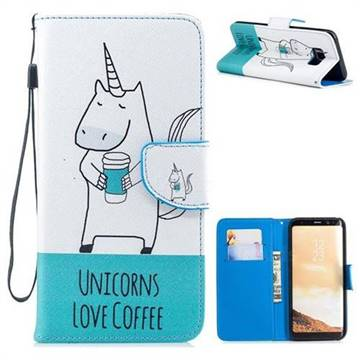 newest 2c03c 1d1f3 Blue Unicorn PU Leather Wallet Phone Case for Samsung Galaxy S8 Plus S8+