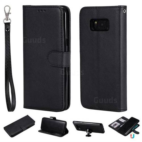 Retro Greek Detachable Magnetic PU Leather Wallet Phone Case for Samsung Galaxy S8 Plus S8+ - Black