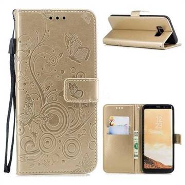 Intricate Embossing Butterfly Circle Leather Wallet Case for Samsung Galaxy S8 Plus S8+ - Champagne