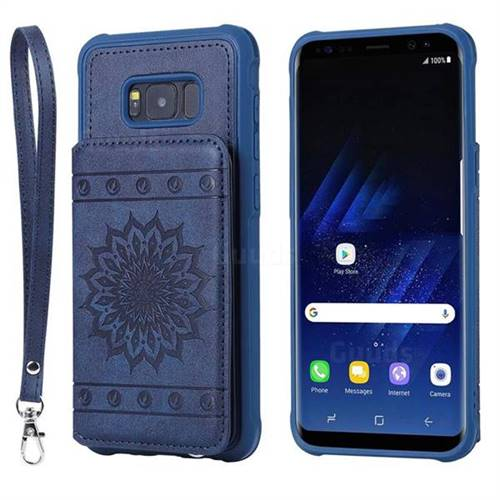 Luxury Embossing Sunflower Multifunction Leather Back Cover for Samsung Galaxy S8 Plus S8+ - Blue