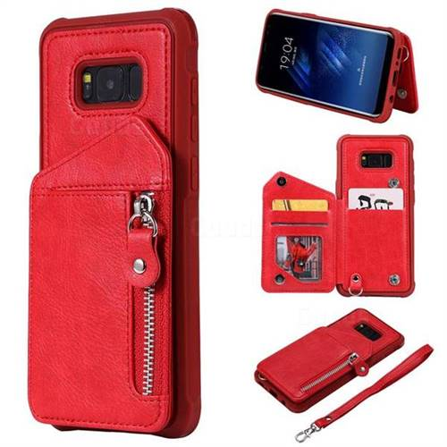 Classic Luxury Buckle Zipper Anti-fall Leather Phone Back Cover for Samsung Galaxy S8 Plus S8+ - Red