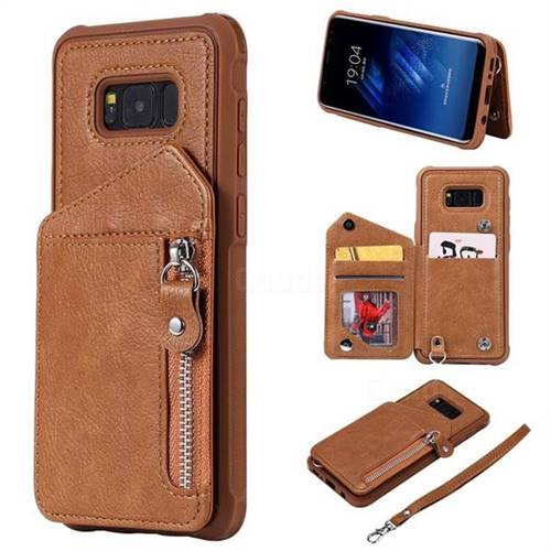 Classic Luxury Buckle Zipper Anti-fall Leather Phone Back Cover for Samsung Galaxy S8 Plus S8+ - Brown