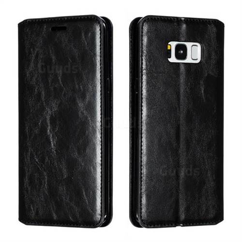 Retro Slim Magnetic Crazy Horse PU Leather Wallet Case for Samsung Galaxy S8 Plus S8+ - Black