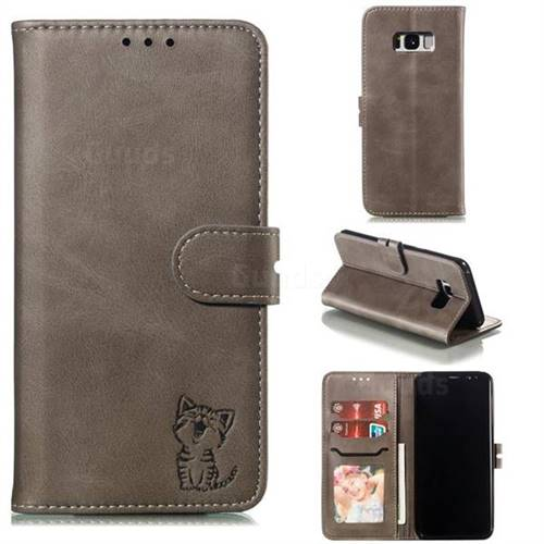 Embossing Happy Cat Leather Wallet Case for Samsung Galaxy S8 Plus S8+ - Gray