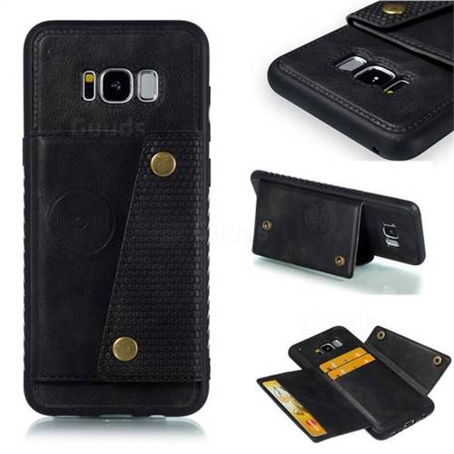 Retro Multifunction Card Slots Stand Leather Coated Phone Back Cover for Samsung Galaxy S8 Plus S8+ - Black