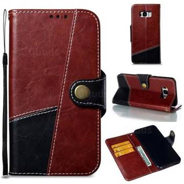 Retro Magnetic Stitching Wallet Flip Cover for Samsung Galaxy S8 Plus S8+ - Dark Red