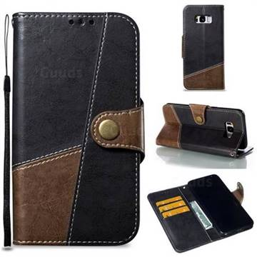 Retro Magnetic Stitching Wallet Flip Cover for Samsung Galaxy S8 Plus S8+ - Dark Gray