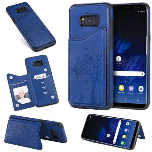 Luxury Tree and Cat Multifunction Magnetic Card Slots Stand Leather Phone Back Cover for Samsung Galaxy S8 Plus S8+ - Blue