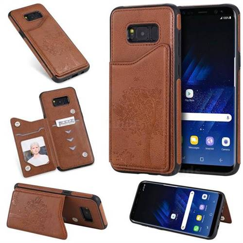 Luxury Tree and Cat Multifunction Magnetic Card Slots Stand Leather Phone Back Cover for Samsung Galaxy S8 Plus S8+ - Brown