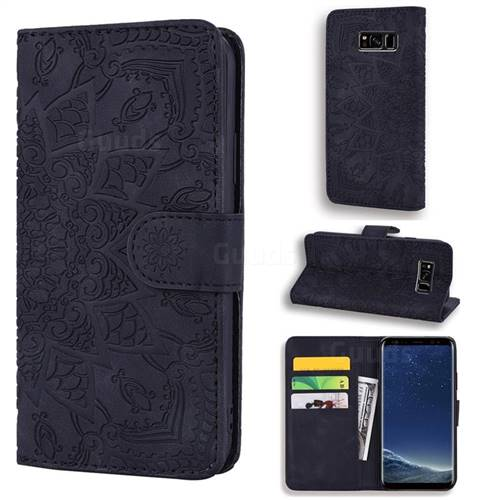 Retro Embossing Mandala Flower Leather Wallet Case for Samsung Galaxy S8 Plus S8+ - Black