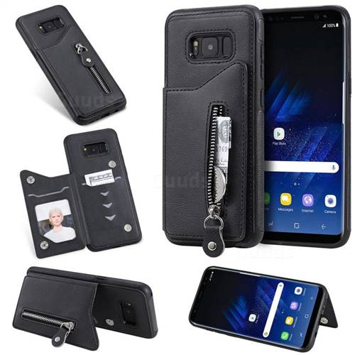 Retro Buckle Zipper Anti-fall Leather Phone Back Cover for Samsung Galaxy  S8 Plus S8+ - Black - Leather Case - Guuds