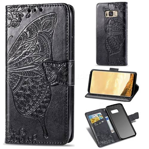Embossing Mandala Flower Butterfly Leather Wallet Case for Samsung Galaxy S8 Plus S8+ - Black