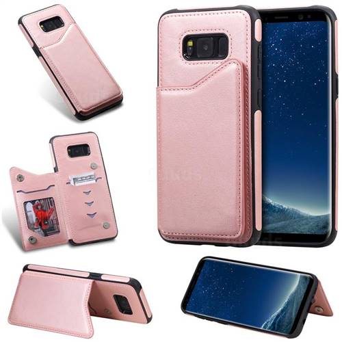 Luxury Multifunction Magnetic Card Slots Stand Calf Leather Phone Back Cover For Samsung Galaxy S8 Plus S8 Rose Gold Leather Case Guuds