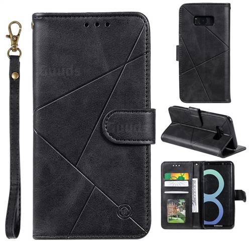 Embossing Geometric Leather Wallet Case for Samsung Galaxy S8 Plus S8+ - Black