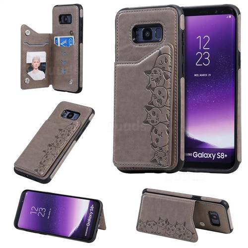 Yikatu Luxury Cute Cats Multifunction Magnetic Card Slots Stand Leather Back Cover for Samsung Galaxy S8 Plus S8+ - Gray