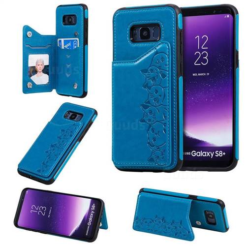 Yikatu Luxury Cute Cats Multifunction Magnetic Card Slots Stand Leather Back Cover for Samsung Galaxy S8 Plus S8+ - Blue