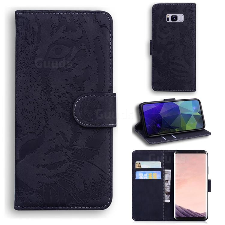 Intricate Embossing Tiger Face Leather Wallet Case for Samsung Galaxy S8 Plus S8+ - Black