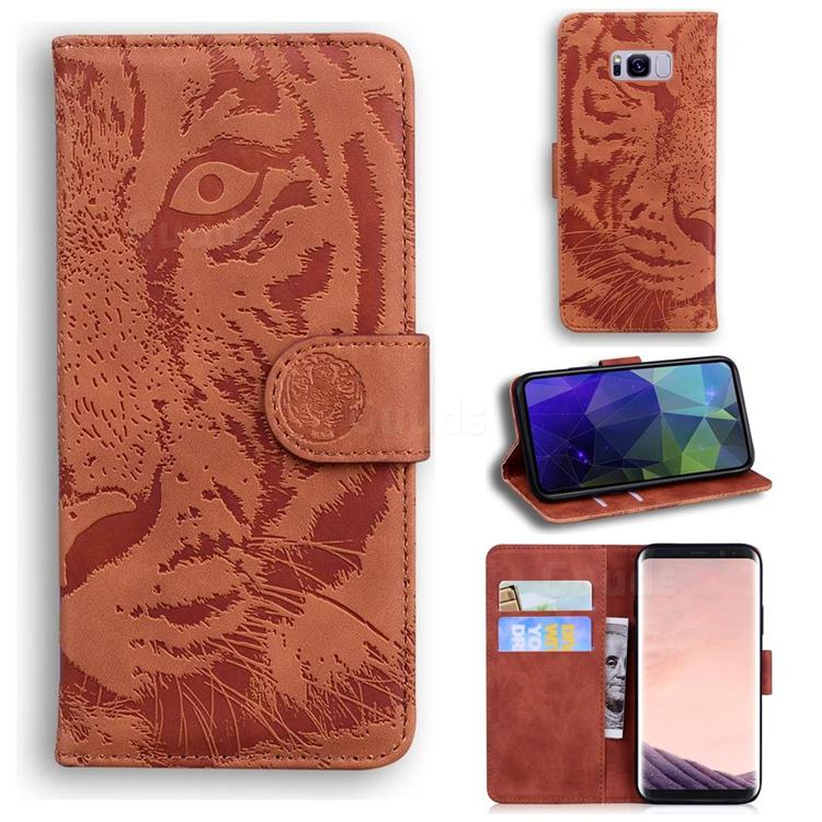 Intricate Embossing Tiger Face Leather Wallet Case for Samsung Galaxy S8 Plus S8+ - Brown