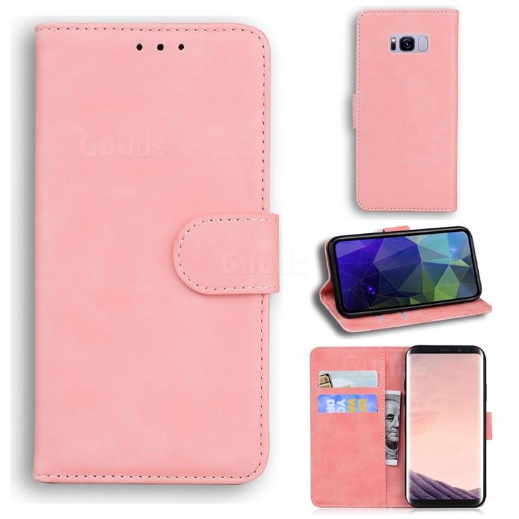 Retro Classic Skin Feel Leather Wallet Phone Case for Samsung Galaxy S8 Plus S8+ - Pink