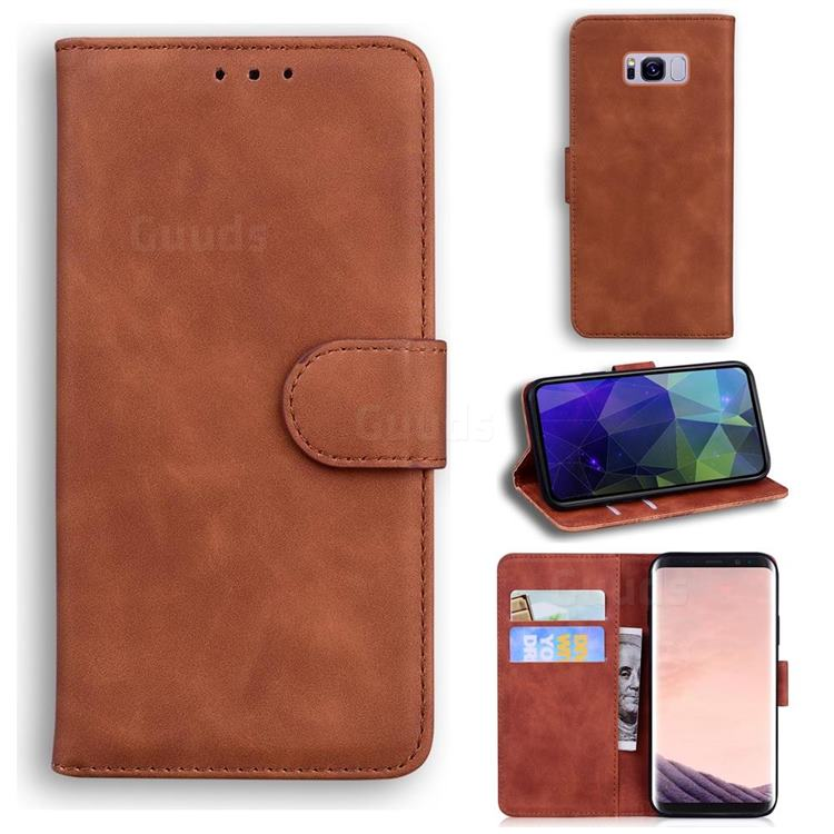 Retro Classic Skin Feel Leather Wallet Phone Case for Samsung Galaxy S8 Plus S8+ - Brown